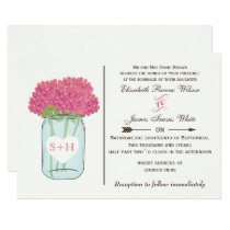 Pink flowers in mason jar wedding invitations