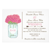 Pink flowers in mason jar  wedding invites by mgdezigns