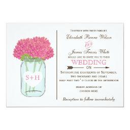 Pink Floral Mason jar   Wedding Invitations