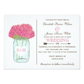Pink Floral Mason jar   Wedding Invitations
