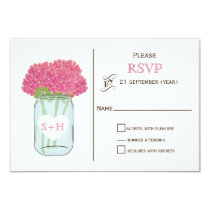 Pink flowers in mason jar wedding RSVP 3.5 x 5 Card