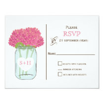 Pink flowers in mason jar wedding RSVP Card