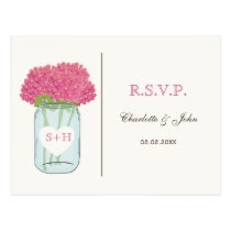Pink flowers in mason jar wedding RSVP Postcard