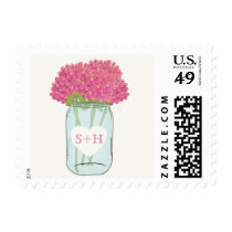 Pink flowers in mason jar wedding stamps