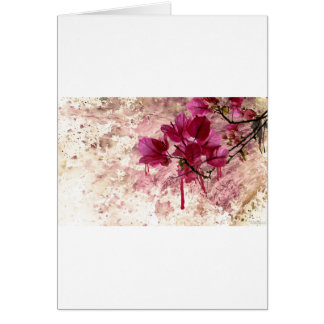 Pink Flowers In Paint Card