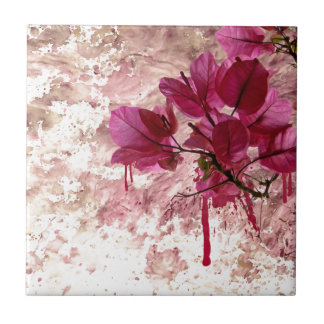 Pink Flowers In Paint Ceramic Tile