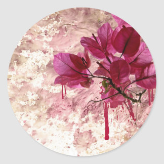 Pink Flowers In Paint Classic Round Sticker