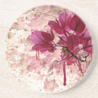 Pink Flowers In Paint Coaster