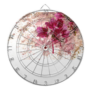 Pink Flowers In Paint Dartboard With Darts