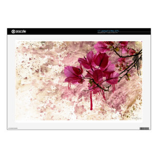 Pink Flowers In Paint Decal For Laptop