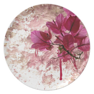 Pink Flowers In Paint Dinner Plate