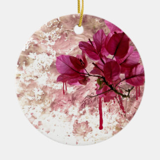 Pink Flowers In Paint Double-Sided Ceramic Round Christmas Ornament