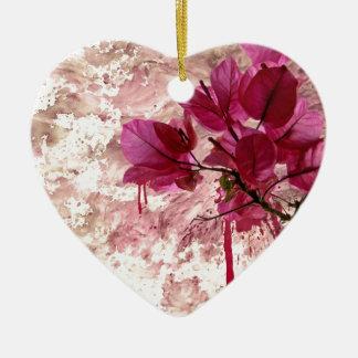 Pink Flowers In Paint Double-Sided Heart Ceramic Christmas Ornament