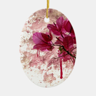 Pink Flowers In Paint Double-Sided Oval Ceramic Christmas Ornament