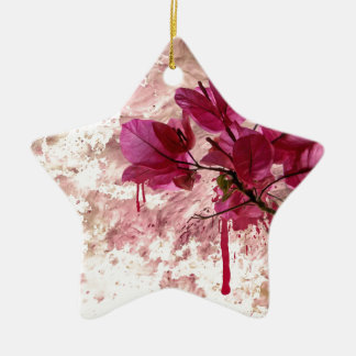 Pink Flowers In Paint Double-Sided Star Ceramic Christmas Ornament