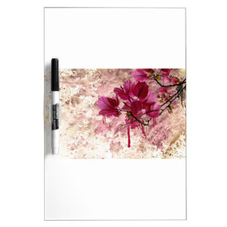 Pink Flowers In Paint Dry-Erase Board