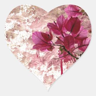 Pink Flowers In Paint Heart Sticker
