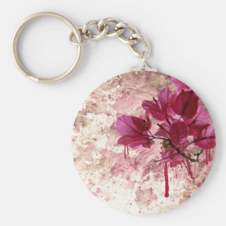 Pink Flowers In Paint Keychain