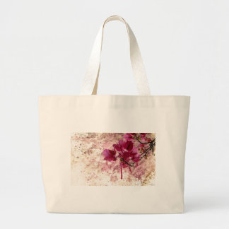 Pink Flowers In Paint Large Tote Bag