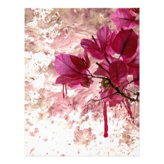 Pink Flowers In Paint Letterhead