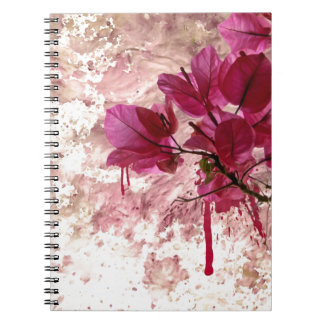 Pink Flowers In Paint Notebook