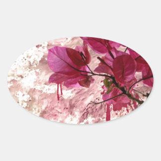 Pink Flowers In Paint Oval Sticker