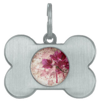 Pink Flowers In Paint Pet Name Tag