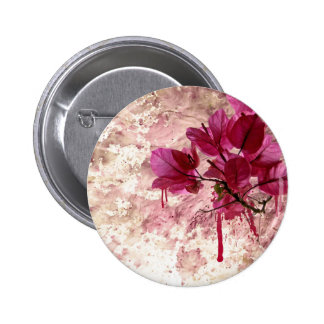 Pink Flowers In Paint Pinback Button
