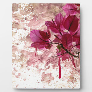 Pink Flowers In Paint Plaque