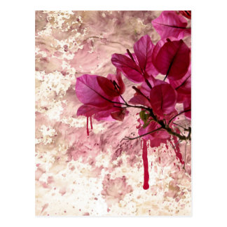 Pink Flowers In Paint Postcard