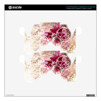 Pink Flowers In Paint PS3 Controller Decal