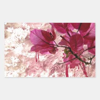 Pink Flowers In Paint Rectangular Sticker