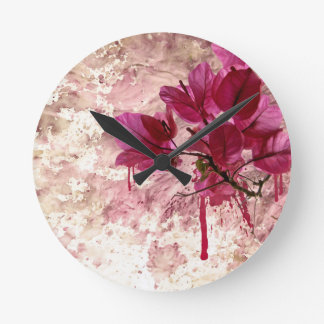 Pink Flowers In Paint Round Clock
