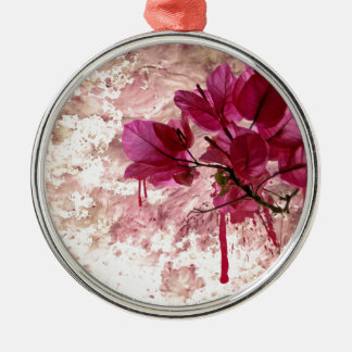 Pink Flowers In Paint Round Metal Christmas Ornament