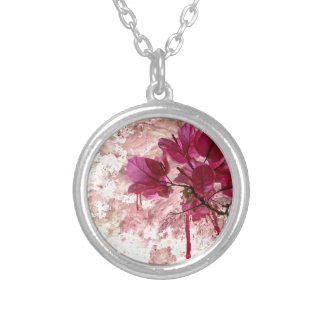 Pink Flowers In Paint Silver Plated Necklace
