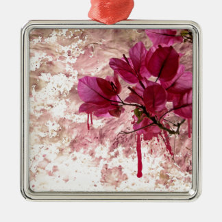 Pink Flowers In Paint Square Metal Christmas Ornament