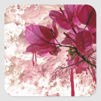 Pink Flowers In Paint Square Sticker