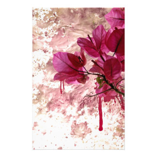 Pink Flowers In Paint Stationery