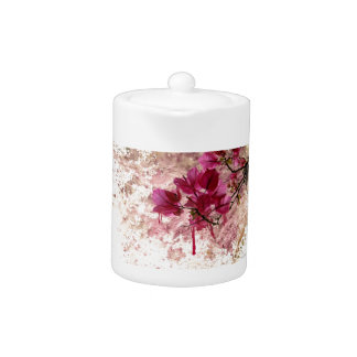 Pink Flowers In Paint Teapot