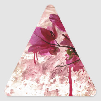 Pink Flowers In Paint Triangle Sticker
