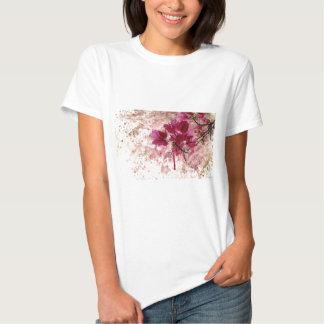 Pink Flowers In Paint Tshirt