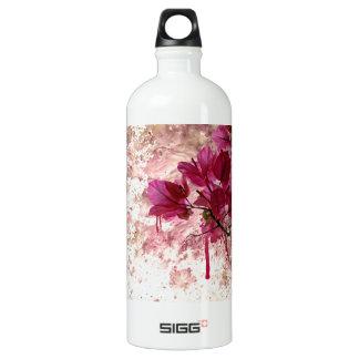 Pink Flowers In Paint Water Bottle