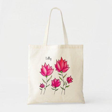 Pink Flowers Ink Watercolor Artsy Girly Name Tote Bag
