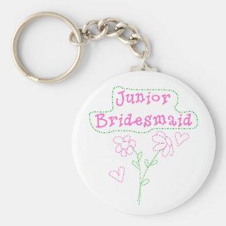 Pink Flowers Junior Bridesmaid Basic Round Button Keychain