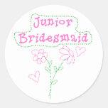 Pink Flowers Junior Bridesmaid Classic Round Sticker