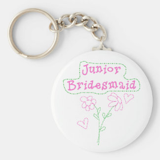 Pink Flowers Junior Bridesmaid Keychain
