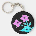 Pink flowers key chain