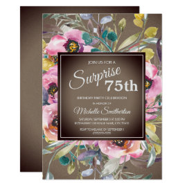 Pink Flowers Leaves Rustic Brown 75th Birthday Invitation