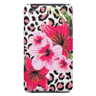 Pink Flowers & Leopard Pattern Print Design iPod Case-Mate Case