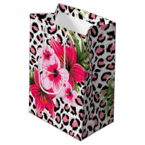 Pink Flowers & Leopard Pattern Print Design Medium Gift Bag
